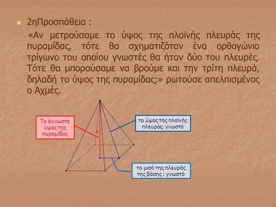2ηΠροσπάθεια : «Αν μετρούσαμε το ύψος της πλαϊνής πλευράς της πυραμίδας, τότε θα σχηματιζόταν ένα ορθογώνιο τρίγωνο του οποίου γνωστές θα ήταν δύο του
