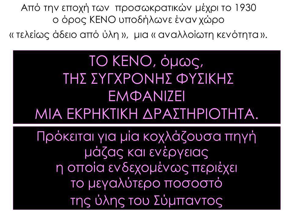 Από την εποχή των προσωκρατικών μέχρι το 1930 ο όρος ΚΕΝΟ υποδήλωνε έναν χώρο « τελείως άδειο από ύλη », μια « αναλλοίωτη κενότητα ». ΤΟ ΚΕΝΟ, όμως, Τ