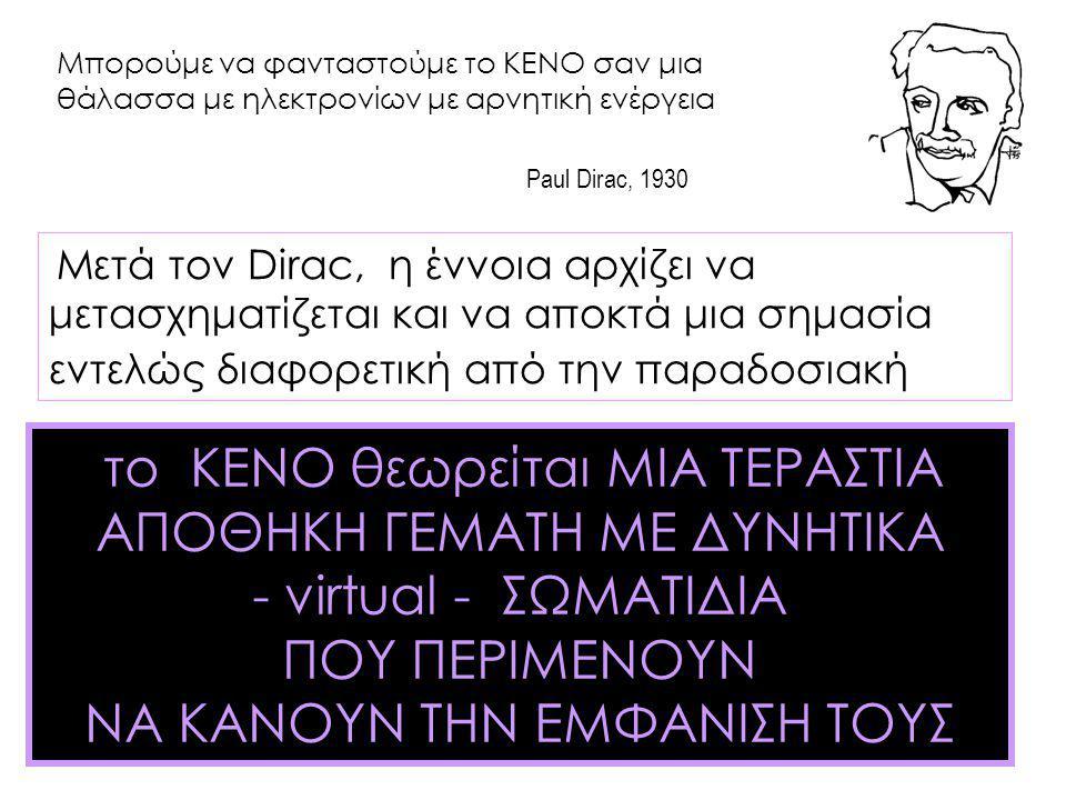 Μπορούμε να φανταστούμε το ΚΕΝΟ σαν μια θάλασσα με ηλεκτρονίων με αρνητική ενέργεια Paul Dirac, 1930 Μετά τον Dirac, η έννοια αρχίζει να μετασχηματίζε