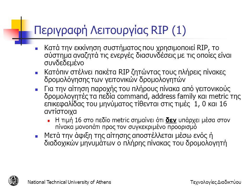 National Technical University of AthensΤεχνολογίες Διαδικτύου Περιγραφή Λειτουργίας RIP (1) Κατά την εκκίνηση συστήματος που χρησιμοποιεί RIP, το σύστ