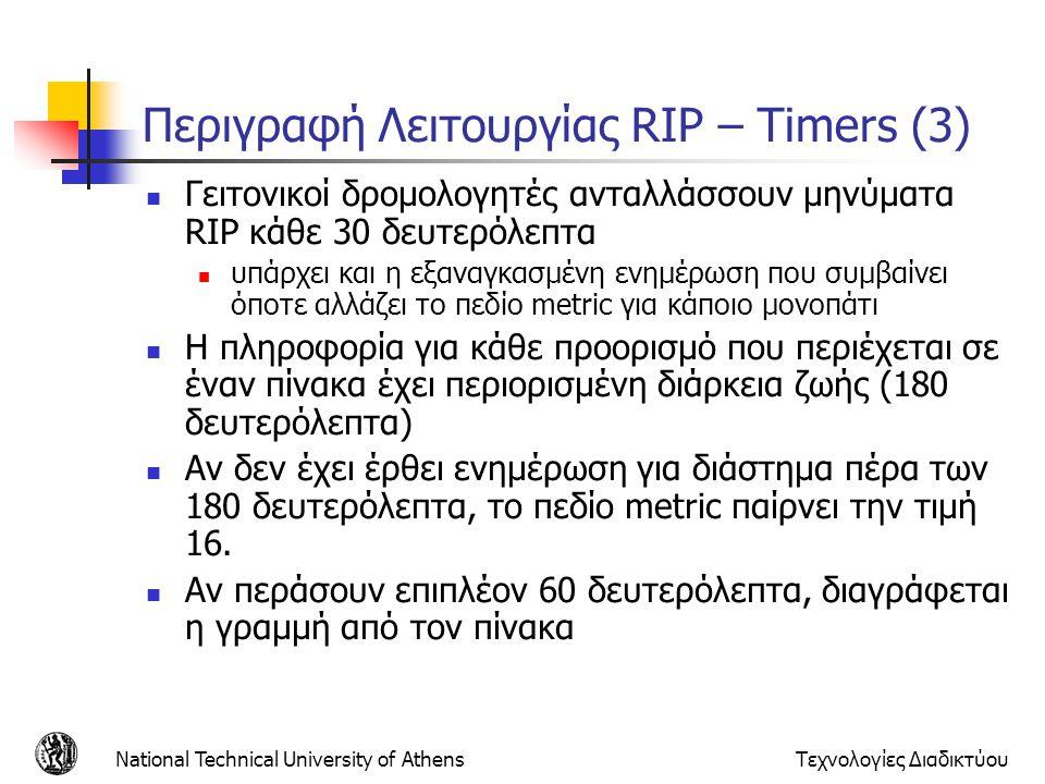 National Technical University of AthensΤεχνολογίες Διαδικτύου Περιγραφή Λειτουργίας RIP – Timers (3) Γειτονικοί δρομολογητές ανταλλάσσουν μηνύματα RIP
