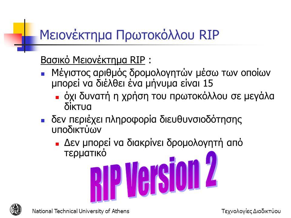 National Technical University of AthensΤεχνολογίες Διαδικτύου Μειονέκτημα Πρωτοκόλλου RIP Βασικό Μειονέκτημα RIP : Μέγιστος αριθμός δρομολογητών μέσω