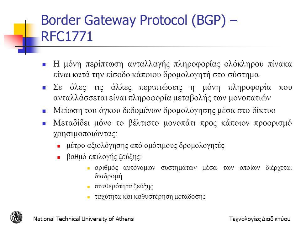National Technical University of AthensΤεχνολογίες Διαδικτύου Border Gateway Protocol (BGP) – RFC1771 Η μόνη περίπτωση ανταλλαγής πληροφορίας ολόκληρο