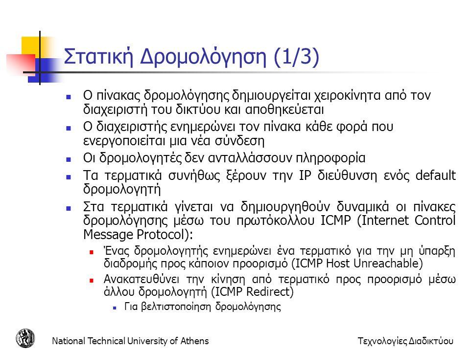 National Technical University of AthensΤεχνολογίες Διαδικτύου Μηνύματα OSPF (1) HELLO Ανακαλύπτει και διατηρεί επικοινωνία με γειτονικούς δρομολογητές Αποστέλλεται περιοδικά Συγχρονίζει και τα ρολόγια των συστημάτων που συμμετέχουν σε ένα δίκτυο OSPF Database Description Χρησιμοποιείται για την ανταλλαγή πληροφοριών που περιέχονται στις βάσεις δεδομένων των δρομολογητών κατά την αρχικοποίηση Link Status Request Ζητά από γειτονικό δρομολογητή πληροφορία σχετική με ζεύξεις, σε περίπτωση που δεν έχουν ενημερωθεί Link Status Update Ενημερώνει γειτονικούς δρομολογητές για αλλαγή κατάστασης μιας ζεύξης