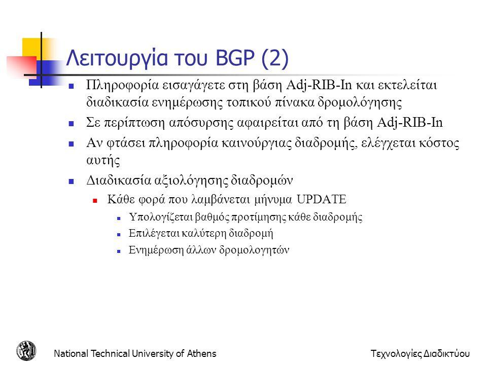 National Technical University of AthensΤεχνολογίες Διαδικτύου Λειτουργία του BGP (2) Πληροφορία εισαγάγετε στη βάση Adj-RIB-In και εκτελείται διαδικασ