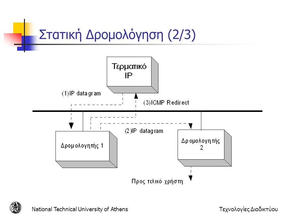 National Technical University of AthensΤεχνολογίες Διαδικτύου Στατική Δρομολόγηση (3/3) Μειονεκτήματα Στατικής Δρομολόγησης: Για κάθε προορισμό δημιουργείται μια εγγραφή στον πίνακα δρομολόγησης του τερματικού Τα μονοπάτια που εγγράφονται στον πίνακα αφορούν μόνο προορισμούς τερματικών και όχι δικτύων Μη υποστήριξη διευθύνσεων δικτύου από το πρωτόκολλο Ακόμη και αν δυο τερματικά βρίσκονται στο ίδιο δίκτυο, δεν είναι δυνατόν να γίνει μια μόνο εγγραφή στον πίνακα δρομολόγησης Άρα, οι πίνακες που δημιουργούνται είναι μεγάλοι : Άσκοπη κατανάλωση μνήμης Αύξηση του χρόνου αναζήτησης μιας διεύθυνσης μέσα στον πίνακα Η χειροκίνητη ενημέρωση πίνακα στους δρομολογητές παραμένει