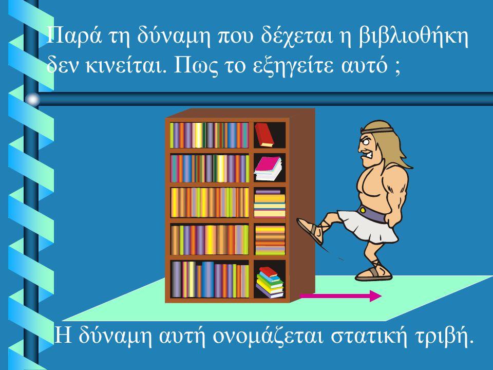 Παρά τη δύναμη που δέχεται η βιβλιοθήκη δεν κινείται.