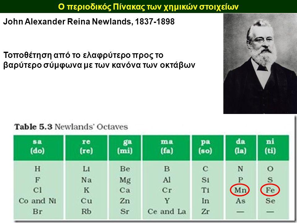 Ο περιοδικός Πίνακας των χημικών στοιχείων John Alexander Reina Newlands, 1837-1898 Τοποθέτηση από το ελαφρύτερο προς το βαρύτερο σύμφωνα με των κανόν