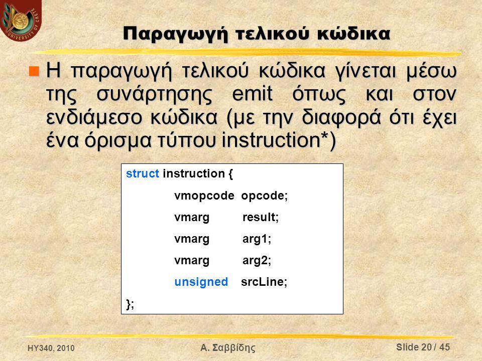 Η παραγωγή τελικού κώδικα γίνεται μέσω της συνάρτησης emit όπως και στον ενδιάμεσο κώδικα (με την διαφορά ότι έχει ένα όρισμα τύπου instruction*) Η παραγωγή τελικού κώδικα γίνεται μέσω της συνάρτησης emit όπως και στον ενδιάμεσο κώδικα (με την διαφορά ότι έχει ένα όρισμα τύπου instruction*) struct instruction { vmopcode opcode; vmarg result; vmarg arg1; vmarg arg2; unsigned srcLine; }; Παραγωγή τελικού κώδικα HY340, 2010 Slide 20 / 45 Α.