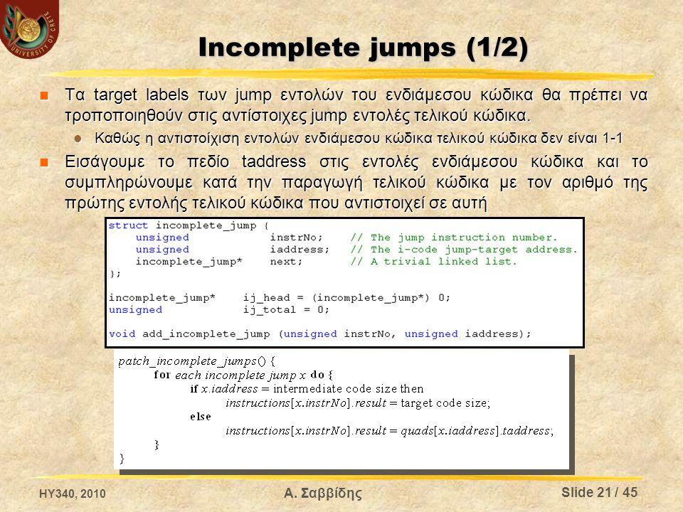 Incomplete jumps (1/2) Τα target labels των jump εντολών του ενδιάμεσου κώδικα θα πρέπει να τροποποιηθούν στις αντίστοιχες jump εντολές τελικού κώδικα.