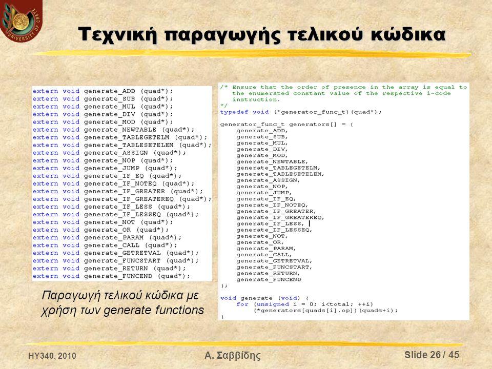 Τεχνική παραγωγής τελικού κώδικα Παραγωγή τελικού κώδικα με χρήση των generate functions HY340, 2010 Slide 26 / 45 Α.