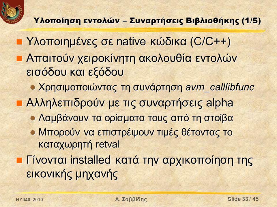 Υλοποίηση εντολών – Συναρτήσεις Βιβλιοθήκης (1/5) Υλοποιημένες σε native κώδικα (C/C++) Υλοποιημένες σε native κώδικα (C/C++) Απαιτούν χειροκίνητη ακολουθία εντολών εισόδου και εξόδου Απαιτούν χειροκίνητη ακολουθία εντολών εισόδου και εξόδου Χρησιμοποιώντας τη συνάρτηση avm_calllibfunc Χρησιμοποιώντας τη συνάρτηση avm_calllibfunc Αλληλεπιδρούν με τις συναρτήσεις alpha Αλληλεπιδρούν με τις συναρτήσεις alpha Λαμβάνουν τα ορίσματα τους από τη στοίβα Λαμβάνουν τα ορίσματα τους από τη στοίβα Μπορούν να επιστρέψουν τιμές θέτοντας το καταχωρητή retval Μπορούν να επιστρέψουν τιμές θέτοντας το καταχωρητή retval Γίνονται installed κατά την αρχικοποίηση της εικονικής μηχανής Γίνονται installed κατά την αρχικοποίηση της εικονικής μηχανής HY340, 2010 Slide 33 / 45 Α.