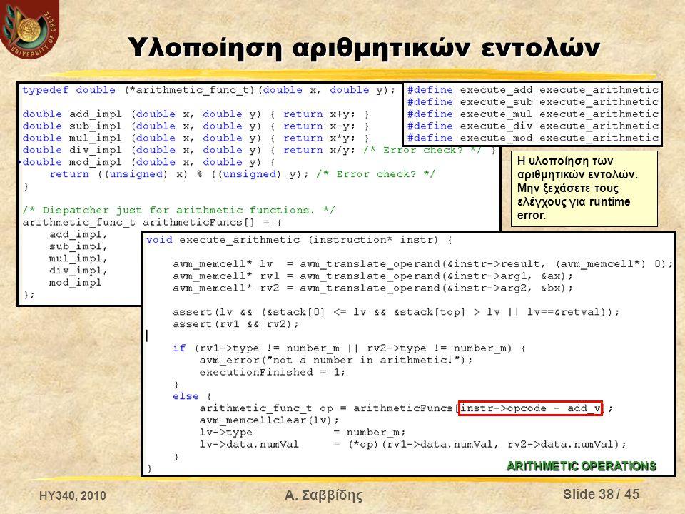 Υλοποίηση αριθμητικών εντολών ARITHMETIC OPERATIONS Η υλοποίηση των αριθμητικών εντολών.