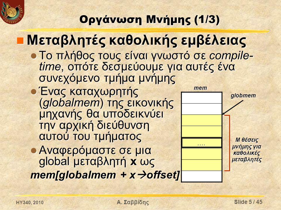 Οργάνωση Μνήμης (1/3) Μεταβλητές καθολικής εμβέλειας Μεταβλητές καθολικής εμβέλειας Το πλήθος τους είναι γνωστό σε compile- time, οπότε δεσμεύουμε για αυτές ένα συνεχόμενο τμήμα μνήμης Το πλήθος τους είναι γνωστό σε compile- time, οπότε δεσμεύουμε για αυτές ένα συνεχόμενο τμήμα μνήμης....