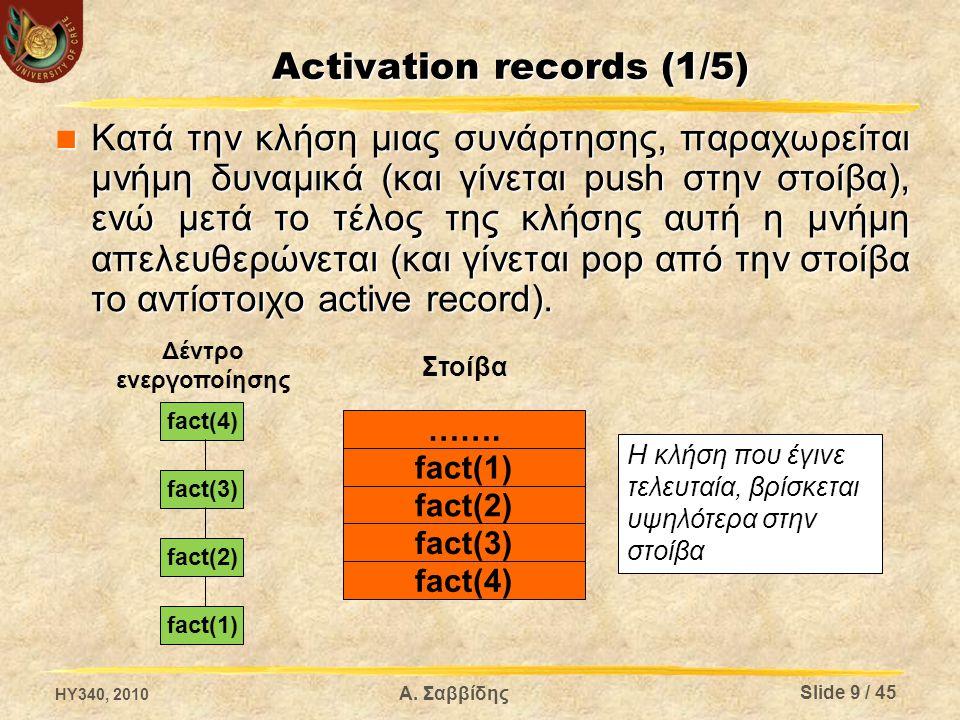 Activation records (2/5) Παράδειγμα (code) Παράδειγμα (code) 1:funcstart f 2:mul x y z 3:if_eq z 10 5 4:jump 6 5:assign 1 z 6:return z 7:funcendf 8:param k 9:param j 10:call f 11:getretval _t1 12:assign _t1 i function f (x, y) { z = x * y; if (z == 10) { z = 1; } return z; } i = f (j, k); HY340, 2010 Slide 10 / 45 Α.