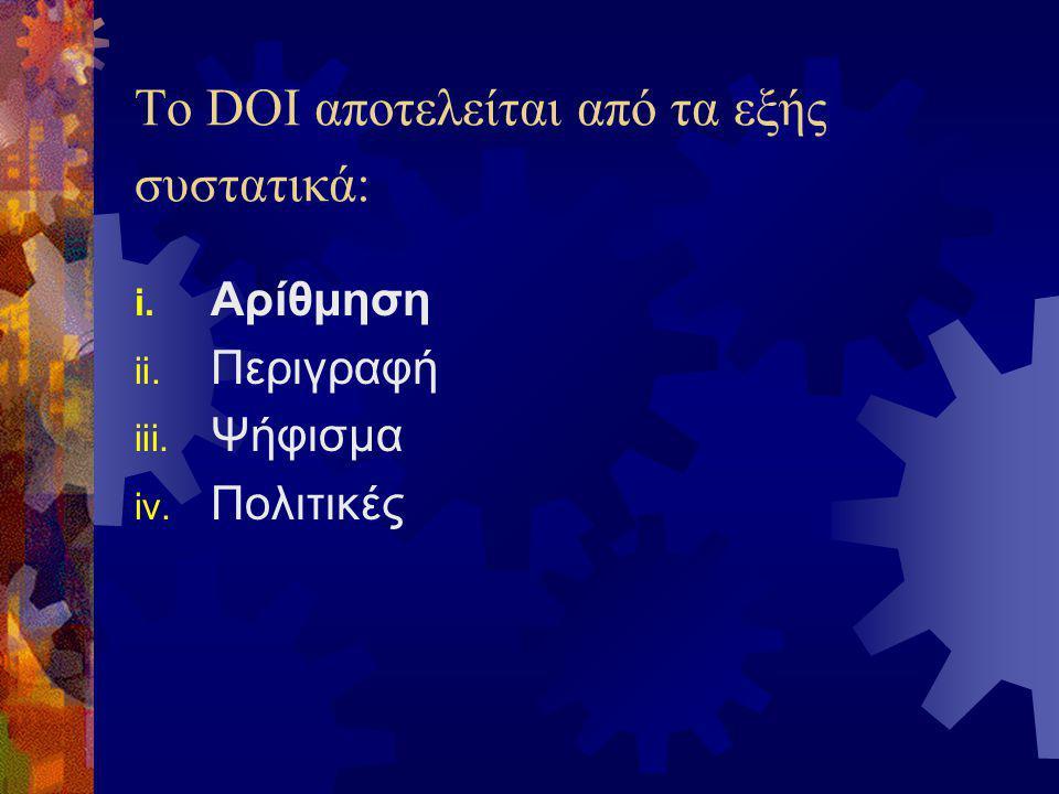 Το DOI προσφέρει ένα μοναδικό σύνολο λειτουργιών:  Εμμονή  Διαλειτουργικότητα  Επέκταση  Αποδοτικότητα  Δυναμική ενημέρωση