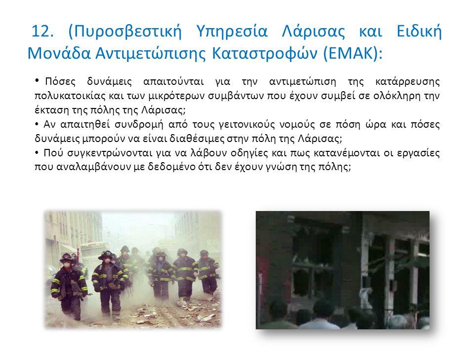 12. (Πυροσβεστική Υπηρεσία Λάρισας και Ειδική Μονάδα Αντιμετώπισης Καταστροφών (ΕΜΑΚ): Πόσες δυνάμεις απαιτούνται για την αντιμετώπιση της κατάρρευσης