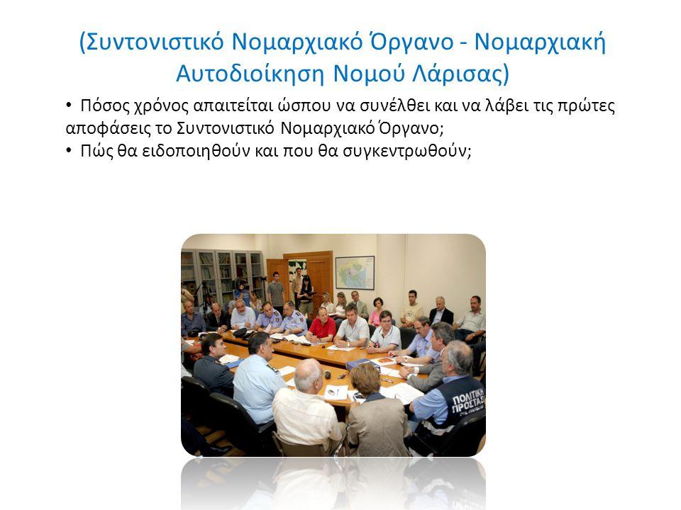 (Συντονιστικό Νομαρχιακό Όργανο - Νομαρχιακή Αυτοδιοίκηση Νομού Λάρισας) Πόσος χρόνος απαιτείται ώσπου να συνέλθει και να λάβει τις πρώτες αποφάσεις το Συντονιστικό Νομαρχιακό Όργανο; Πώς θα ειδοποιηθούν και που θα συγκεντρωθούν;