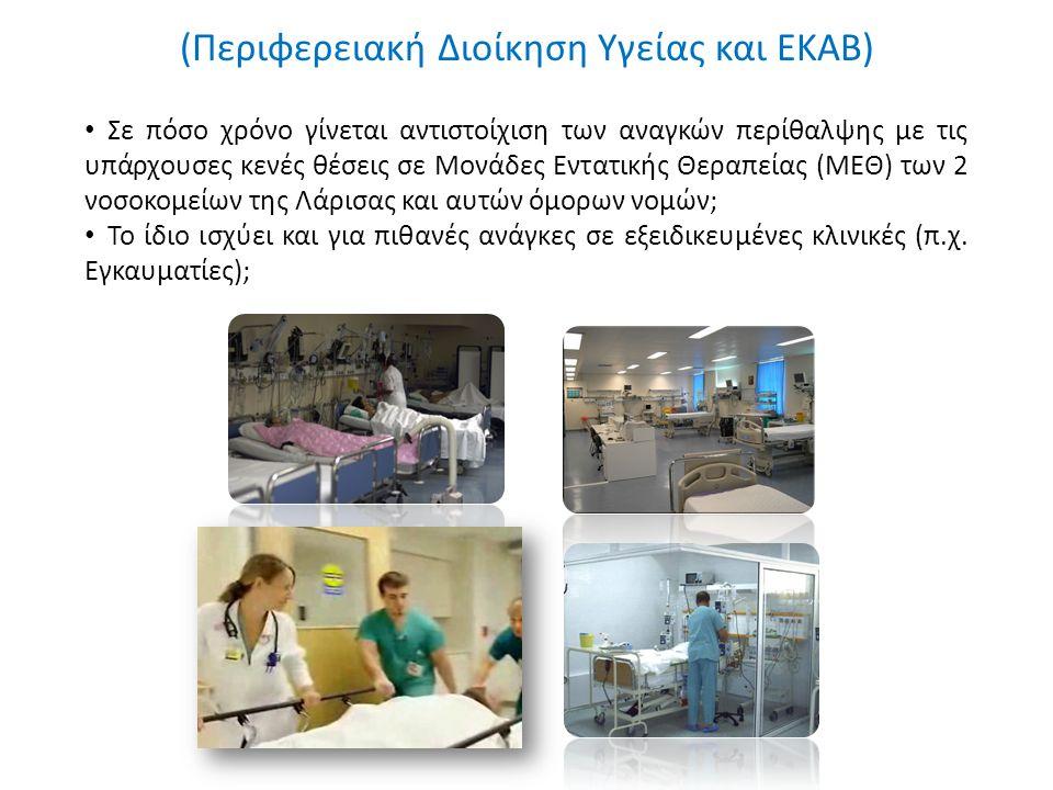 (Περιφερειακή Διοίκηση Υγείας και ΕΚΑΒ) Σε πόσο χρόνο γίνεται αντιστοίχιση των αναγκών περίθαλψης με τις υπάρχουσες κενές θέσεις σε Μονάδες Εντατικής Θεραπείας (ΜΕΘ) των 2 νοσοκομείων της Λάρισας και αυτών όμορων νομών; Το ίδιο ισχύει και για πιθανές ανάγκες σε εξειδικευμένες κλινικές (π.χ.