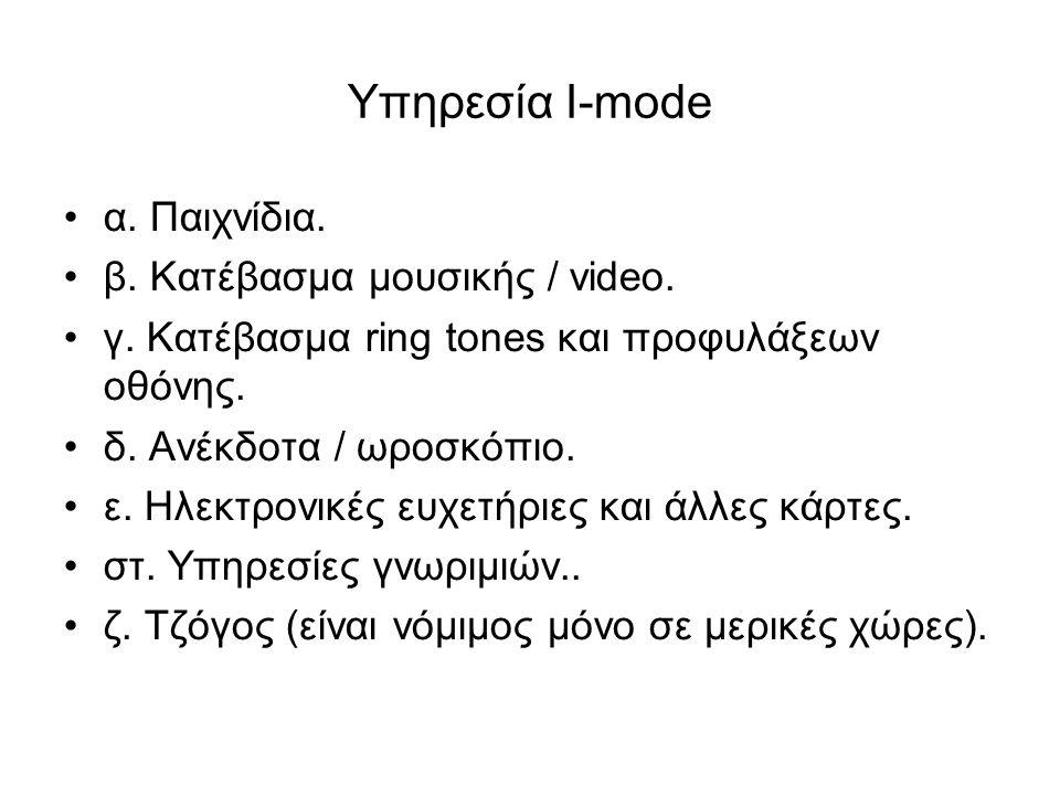 Υπηρεσία I-mode α. Παιχνίδια. β. Κατέβασµα µουσικής / video.