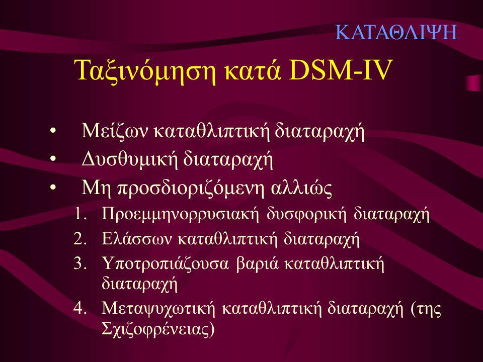 Μείζων καταθλιπτική διαταραχή Δυσθυμική διαταραχή Μη προσδιοριζόμενη αλλιώς 1.Προεμμηνορρυσιακή δυσφορική διαταραχή 2.Ελάσσων καταθλιπτική διαταραχή 3.Υποτροπιάζουσα βαριά καταθλιπτική διαταραχή 4.Μεταψυχωτική καταθλιπτική διαταραχή (της Σχιζοφρένειας) ΚΑΤΑΘΛΙΨΗ Ταξινόμηση κατά DSM-IV