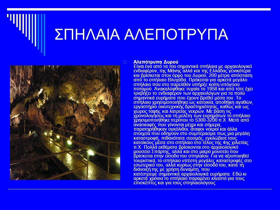 ΣΠΗΛΑΙΑ ΑΛΕΠΟΤΡΥΠΑ  Αλεπότρυπα Δυρού Είναι ένα από τα πιο σημαντικά σπήλαια με αρχαιολογικό ενδιαφέρον, της Μάνης αλλά και της Ελλάδας γενικότερα και βρίσκεται στον όρμο του Δυρού, 200 μέτρα απόσταση από το σπήλαιο Βλυχάδα.