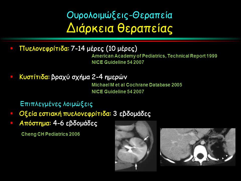 Ουρολοιμώξεις-Θεραπεία Διάρκεια θεραπείας  Πυελονεφρίτιδα: 7-14 μέρες (10 μέρες) American Academy of Pediatrics, Technical Report 1999 NICE Guideline 54 2007  Κυστίτιδα: βραχύ σχήμα 2-4 ημερών Michael M et al Cochrane Database 2005 NICE Guideline 54 2007 Επιπλεγμένες λοιμώξεις  Οξεία εστιακή πυελονεφρίτιδα: 3 εβδομάδες  Απόστημα: 4-6 εβδομάδες Cheng CH Pediatrics 2006