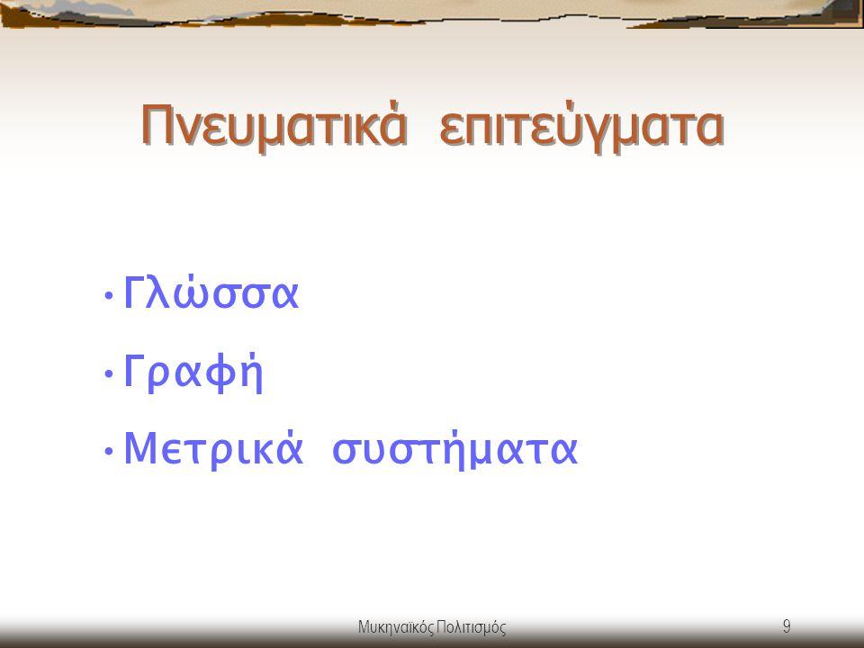 Μυκηναϊκός Πολιτισμός10 Η ΓΡΑΦΗ Γραμμική Β΄ Χρησιμοποιήθηκε από εξειδικευμένους γραφείς Αποκρυπτογραφήθηκε το 1952 από τους M.