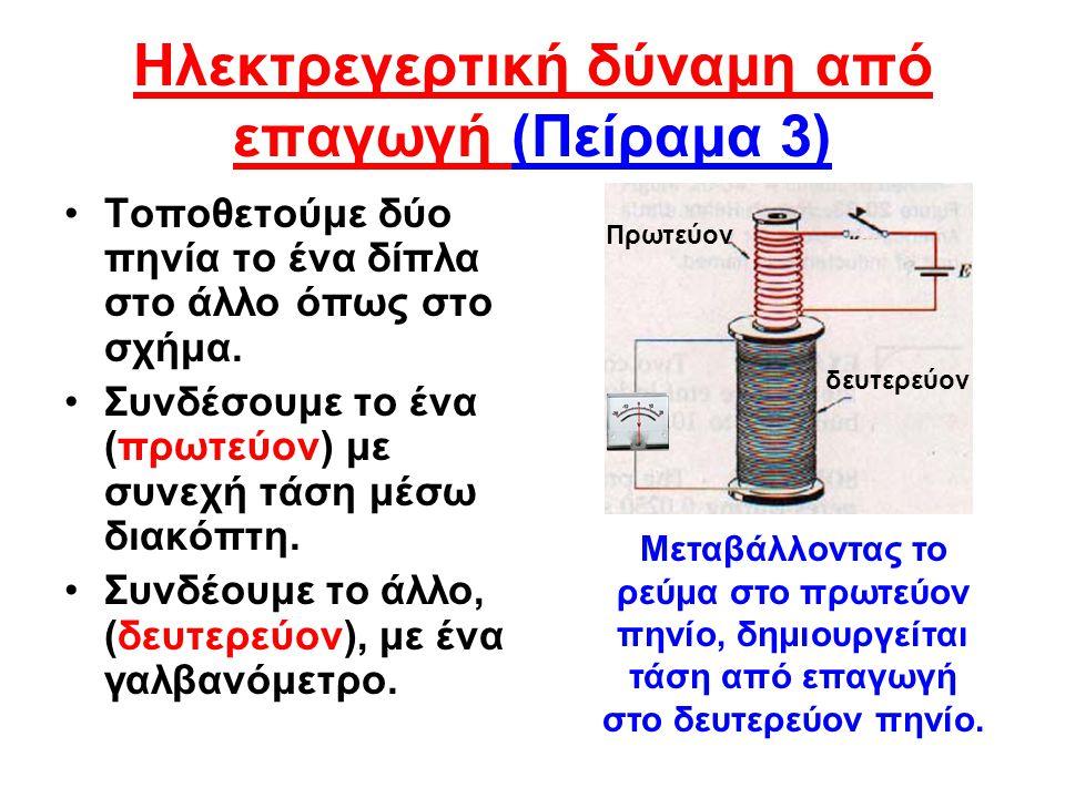 Ο νόμος του Φάραντεϊ (Faraday) Μελετώντας το φαινόμενο ο Faraday διετύπωσε τον ομώνυμο νόμο: Η ηλεκτρεγερτική δύναμη από επαγωγή u στα άκρα πηνίου είναι ανάλογη με το ρυθμό μεταβολής της μαγνητικής ροής ΔΦ/Δt που περνά από το πηνίο και του αριθμού των σπειρών Ν του πηνίου.