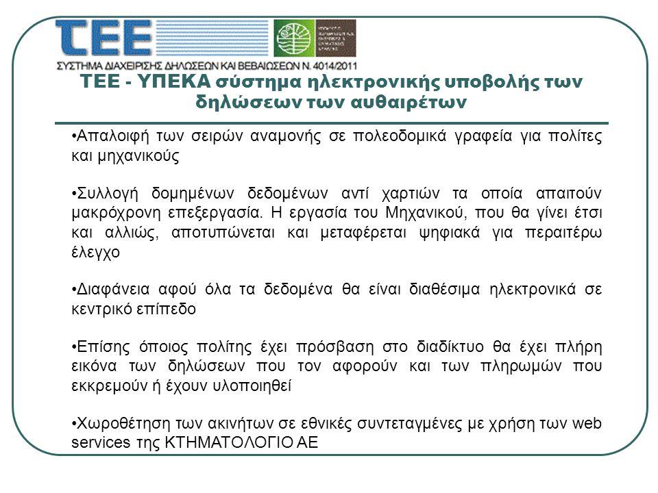 ΤΕΕ - ΥΠΕΚΑ σύστημα ηλεκτρονικής υποβολής των δηλώσεων των αυθαιρέτων Προσέγγιση των προστίμων που οφείλονται με μεγάλη ακρίβεια με ευθύνη του μηχανικού και δυνατότητα διόρθωσης στην συνέχεια εάν αυτό είναι επιθυμητό Δημιουργία της πρώτης βάσης δεδομένων για περαιτέρω αξιοποίησή της για την εξαγωγή συμπερασμάτων και την χάραξη οικιστικής πολιτικής Θεσμική παρέμβαση του ΤΕΕ στην υποστήριξη λειτουργίας της κεντρικής διοίκησης μέσω των συστημάτων πιστοποίησης των Μελών του Όλα τα δεδομένα θα ολοκληρωθούν με την υποβολή πλήρους ταυτότητας κτηρίου όταν υλοποιηθεί το αντίστοιχο έργο το οποίο έχει ενταχθεί στο Επιχειρησιακό Πρόγραμμα Ψηφιακή Σύγκλιση