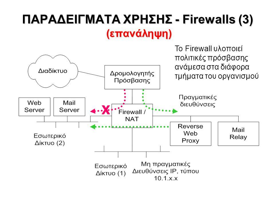 ΠΑΡΑΔΕΙΓΜΑΤΑ ΧΡΗΣΗΣ - Firewalls (3) (επανάληψη) Το Firewall υλοποιεί πολιτικές πρόσβασης ανάμεσα στα διάφορα τμήματα του οργανισμού X