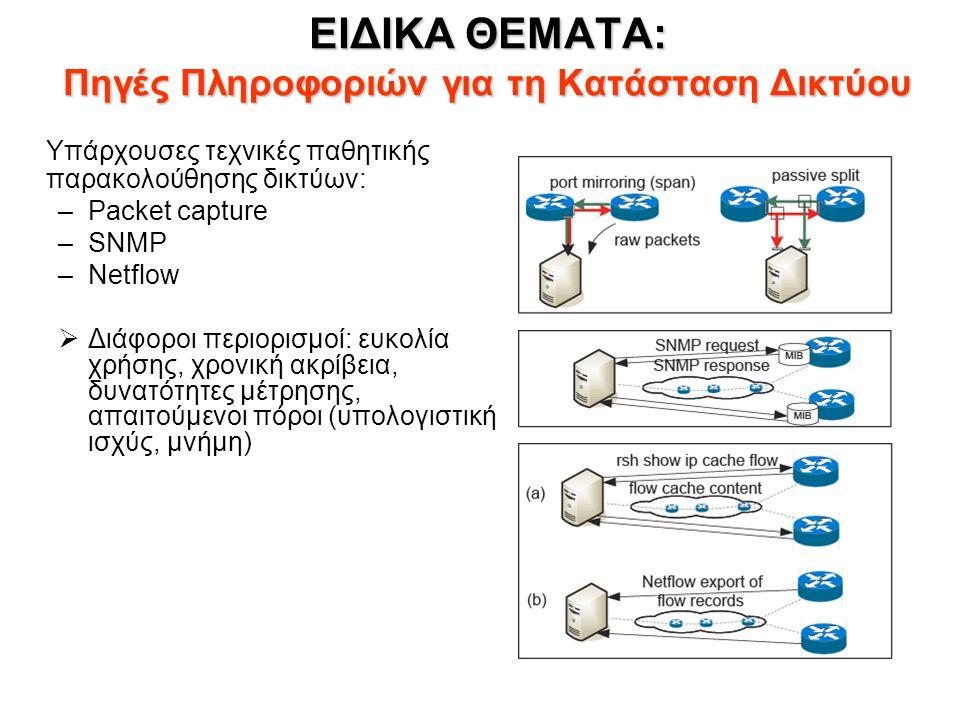ΕΙΔΙΚΑ ΘΕΜΑΤΑ: Πηγές Πληροφοριών για τη Κατάσταση Δικτύου Υπάρχουσες τεχνικές παθητικής παρακολούθησης δικτύων: –Packet capture –SNMP –Netflow  Διάφοροι περιορισμοί: ευκολία χρήσης, χρονική ακρίβεια, δυνατότητες μέτρησης, απαιτούμενοι πόροι (υπολογιστική ισχύς, μνήμη)