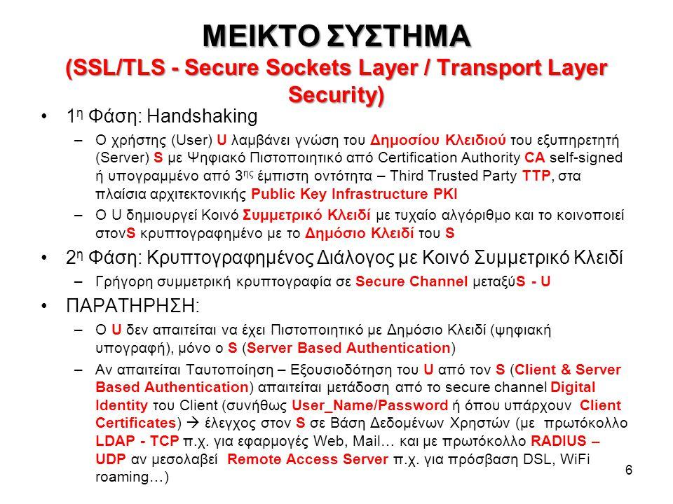 ΜΕΙΚΤΟ ΣΥΣΤΗΜΑ (SSL/TLS - Secure Sockets Layer / Transport Layer Security) 6 1 η Φάση: Handshaking –Ο χρήστης (User) U λαμβάνει γνώση του Δημοσίου Κλειδιού του εξυπηρετητή (Server) S με Ψηφιακό Πιστοποιητικό από Certification Authority CA self-signed ή υπογραμμένο από 3 ης έμπιστη οντότητα – Third Trusted Party TTP, στα πλαίσια αρχιτεκτονικής Public Key Infrastructure PKI –Ο U δημιουργεί Κοινό Συμμετρικό Κλειδί με τυχαίο αλγόριθμο και το κοινοποιεί στονS κρυπτογραφημένο με το Δημόσιο Κλειδί του S 2 η Φάση: Κρυπτογραφημένος Διάλογος με Κοινό Συμμετρικό Κλειδί –Γρήγορη συμμετρική κρυπτογραφία σε Secure Channel μεταξύS - U ΠΑΡΑΤΗΡΗΣΗ: –Ο U δεν απαιτείται να έχει Πιστοποιητικό με Δημόσιο Κλειδί (ψηφιακή υπογραφή), μόνο ο S (Server Based Authentication) –Αν απαιτείται Ταυτοποίηση – Εξουσιοδότηση του U από τον S (Client & Server Based Authentication) απαιτείται μετάδοση από το secure channel Digital Identity του Client (συνήθως User_Name/Password ή όπου υπάρχουν Client Certificates)  έλεγχος στον S σε Βάση Δεδομένων Χρηστών (με πρωτόκολλο LDAP - TCP π.χ.