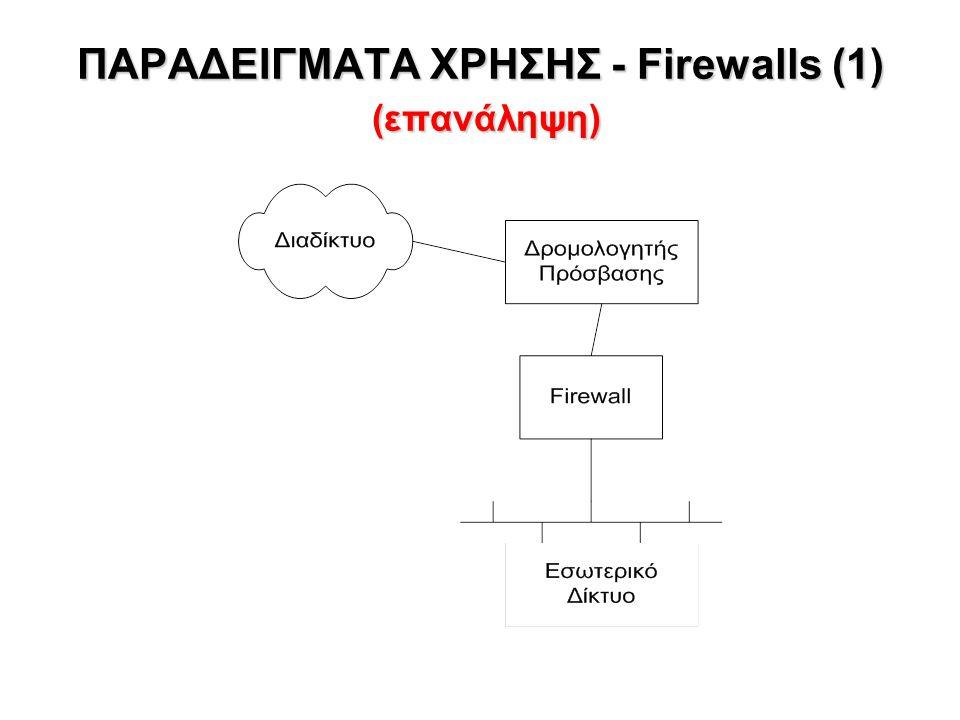 ΠΑΡΑΔΕΙΓΜΑΤΑ ΧΡΗΣΗΣ - Firewalls (1) (επανάληψη)