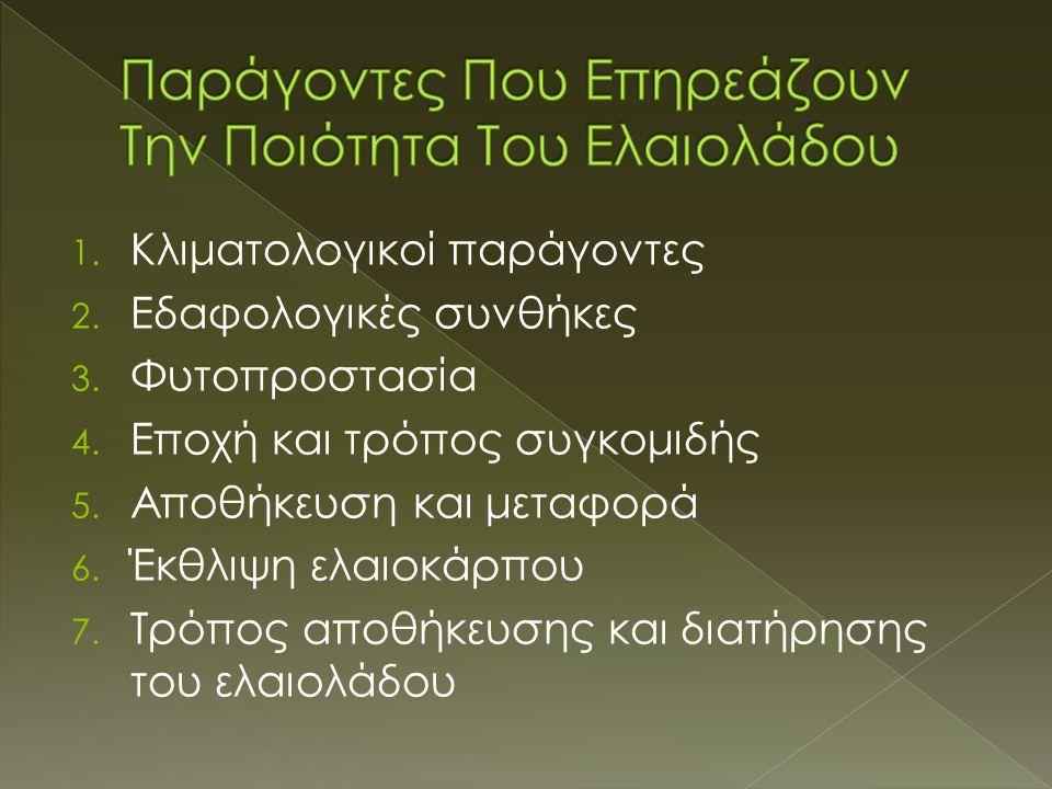1. Kλιματολογικοί παράγοντες 2. Eδαφολογικές συνθήκες 3. Φυτοπροστασία 4. Eποχή και τρόπος συγκομιδής 5. Aποθήκευση και μεταφορά 6. Έκθλιψη ελαιoκάρπο