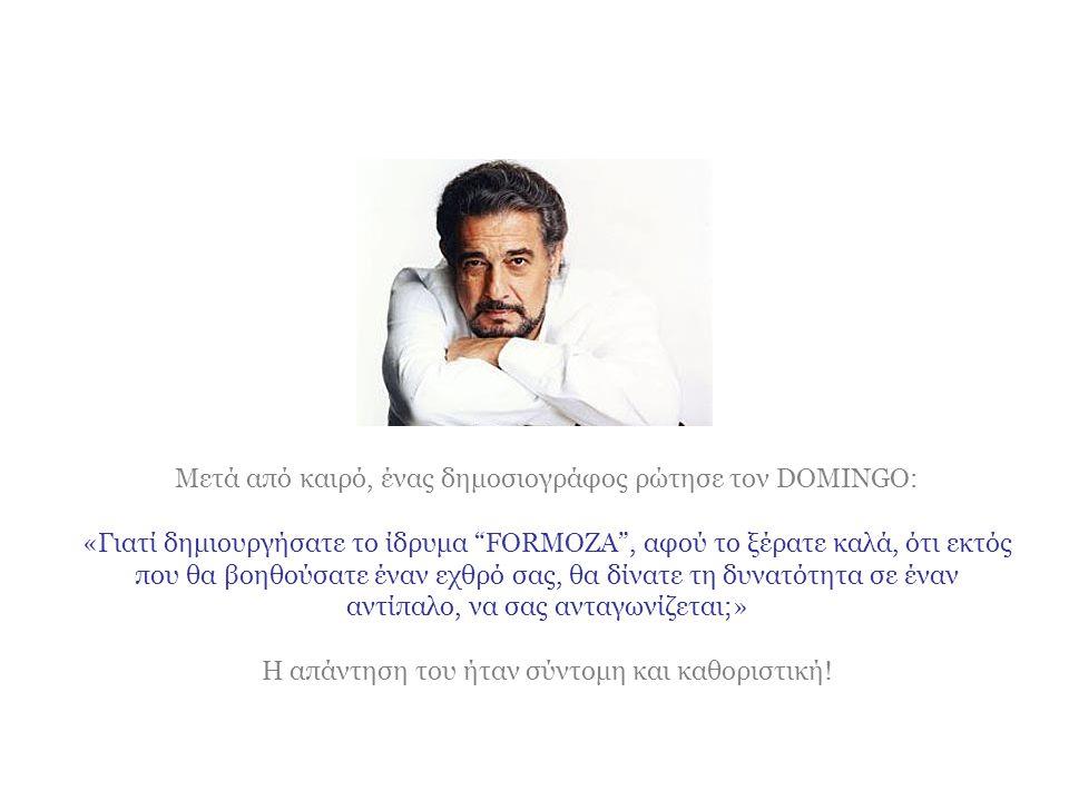 Ο PLACIDO DOMINGO, τον βοήθησε να σηκωθεί, και με μία ζεστή αγκαλιά, ξεκίνησαν μια δυνατή και τρυφερή φιλία!!!