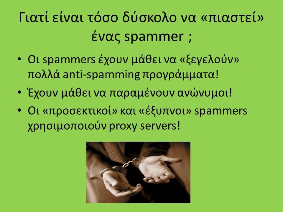Τρόποι Αποφυγής του spam Χρησιμοποίηση Anti-Spamming προγραμμάτων Δεν ανοίγουμε ιστοσελίδες οι οποίες είναι μέρος ενός email από κάποιο πρόσωπο, εκτός και αν είμαστε απόλυτα βέβαιοι για το περιεχόμενό τους Δεν δίνουμε τα προσωπικά μας στοιχεία όπουδήποτε, εκτός και αν είμαστε απολύτως βέβαιοι ότι κάτι τέτοιο δέν θα είναι επιβλαβές Χρήση καλού anti-virus Δεν τρέχουμε προγράμματα που είναι attached σε emails από κάποιο άγνωστο Αποφυγεύγουμε να έχουμε το όνομα του e-mail account μας σε κάποια σελίδα στο διαδίκτυο αν δέν υπάρχει ιδιαίτερος λόγος Χρησιμοποίηση αξιόπιστων web browsers Δεν αποφεύγουμε τα διάφορα updates.
