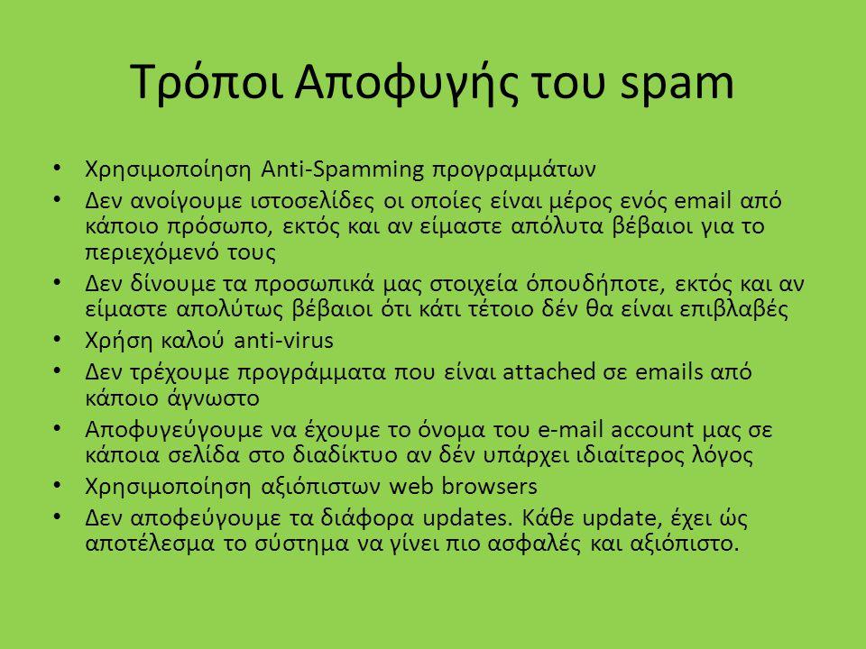 Τρόποι Αποφυγής του spam Χρησιμοποίηση Anti-Spamming προγραμμάτων Δεν ανοίγουμε ιστοσελίδες οι οποίες είναι μέρος ενός email από κάποιο πρόσωπο, εκτός