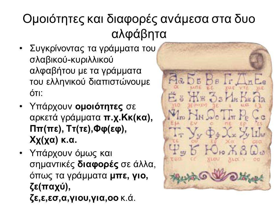 Ομοιότητες και διαφορές ανάμεσα στα δυο αλφάβητα Συγκρίνοντας τα γράμματα του σλαβικού-κυριλλικού αλφαβήτου με τα γράμματα του ελληνικού διαπιστώνουμε ότι: Υπάρχουν ομοιότητες σε αρκετά γράμματα π.χ.Κκ(κα), Ππ(πε), Ττ(τε),Φφ(εφ), Χχ(χα) κ.α.