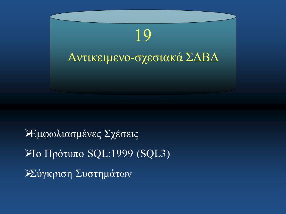 SQL3 Κεφάλαιο 19: Αντικειμενο-σχεσιακά ΣΔΒΔ Παράδειγμα ορισμού ενός νέου τύπου δεδομένων για τη διαχείριση ορθογωνίων γεωμετρικών σχημάτων: CREATE TYPE RectType AS ( x1 INT, x2 INT, y1 INT, y2 INT, FUNCTION getArea (r RectType) RETURNS FLOAT RETURN (x2-x1)*(y2-y1); END, FUNCTION getPerimeter (r RectType) RETURNS FLOAT RETURN 2*(x2-x1) + 2*(y2-y1); END ) REF IS SYSTEM GENERATED INSTANTIABLE NOT FINAL;