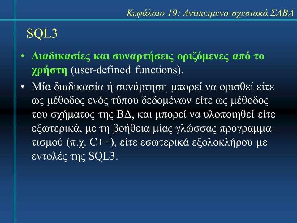 SQL3 Κεφάλαιο 19: Αντικειμενο-σχεσιακά ΣΔΒΔ Διαδικασίες και συναρτήσεις οριζόμενες από το χρήστη (user-defined functions).