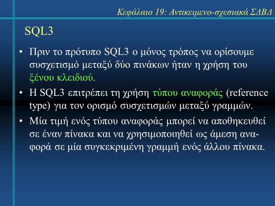 SQL3 Κεφάλαιο 19: Αντικειμενο-σχεσιακά ΣΔΒΔ Πριν το πρότυπο SQL3 ο μόνος τρόπος να ορίσουμε συσχετισμό μεταξύ δύο πινάκων ήταν η χρήση του ξένου κλειδιού.