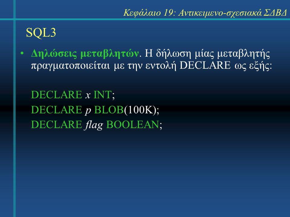 SQL3 Κεφάλαιο 19: Αντικειμενο-σχεσιακά ΣΔΒΔ Δηλώσεις μεταβλητών. Η δήλωση μίας μεταβλητής πραγματοποιείται με την εντολή DECLARE ως εξής: DECLARE x IN