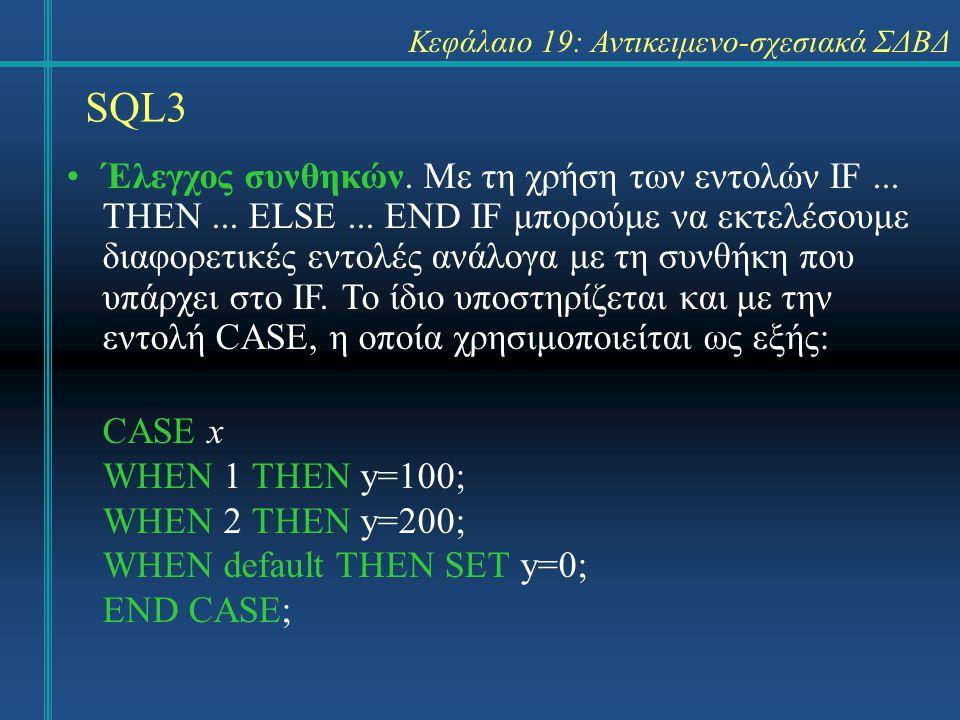 SQL3 Κεφάλαιο 19: Αντικειμενο-σχεσιακά ΣΔΒΔ Έλεγχος συνθηκών.