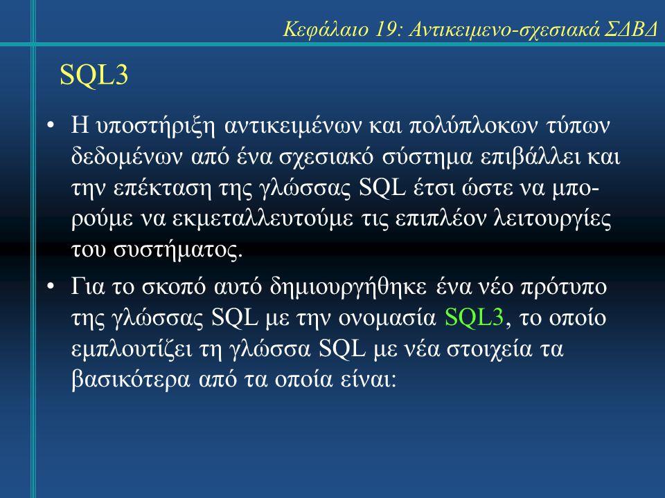 SQL3 Κεφάλαιο 19: Αντικειμενο-σχεσιακά ΣΔΒΔ Η υποστήριξη αντικειμένων και πολύπλοκων τύπων δεδομένων από ένα σχεσιακό σύστημα επιβάλλει και την επέκταση της γλώσσας SQL έτσι ώστε να μπο- ρούμε να εκμεταλλευτούμε τις επιπλέον λειτουργίες του συστήματος.