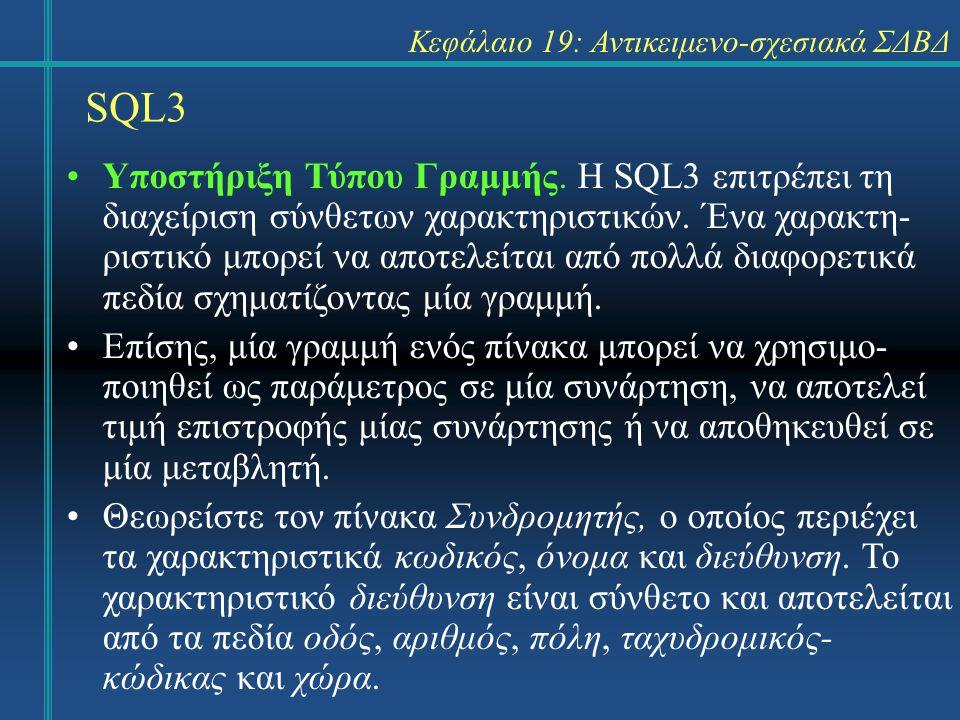 SQL3 Κεφάλαιο 19: Αντικειμενο-σχεσιακά ΣΔΒΔ Υποστήριξη Τύπου Γραμμής. Η SQL3 επιτρέπει τη διαχείριση σύνθετων χαρακτηριστικών. Ένα χαρακτη- ριστικό μπ