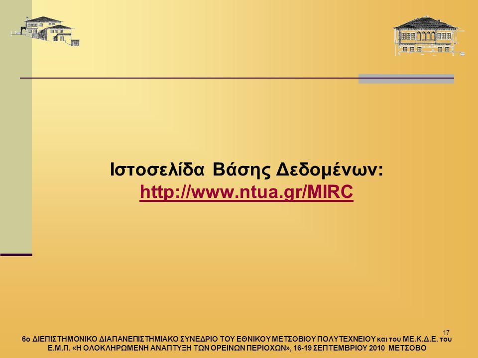 17 Ιστοσελίδα Βάσης Δεδομένων: http://www.ntua.gr/MIRC http://www.ntua.gr/MIRC 6ο ΔΙΕΠΙΣΤΗΜΟΝΙΚΟ ΔΙΑΠΑΝΕΠΙΣΤΗΜΙΑΚΟ ΣΥΝΕΔΡΙΟ ΤΟΥ ΕΘΝΙΚΟΥ ΜΕΤΣΟΒΙΟΥ ΠΟΛΥΤΕΧΝΕΙΟΥ και του ΜΕ.Κ.Δ.Ε.
