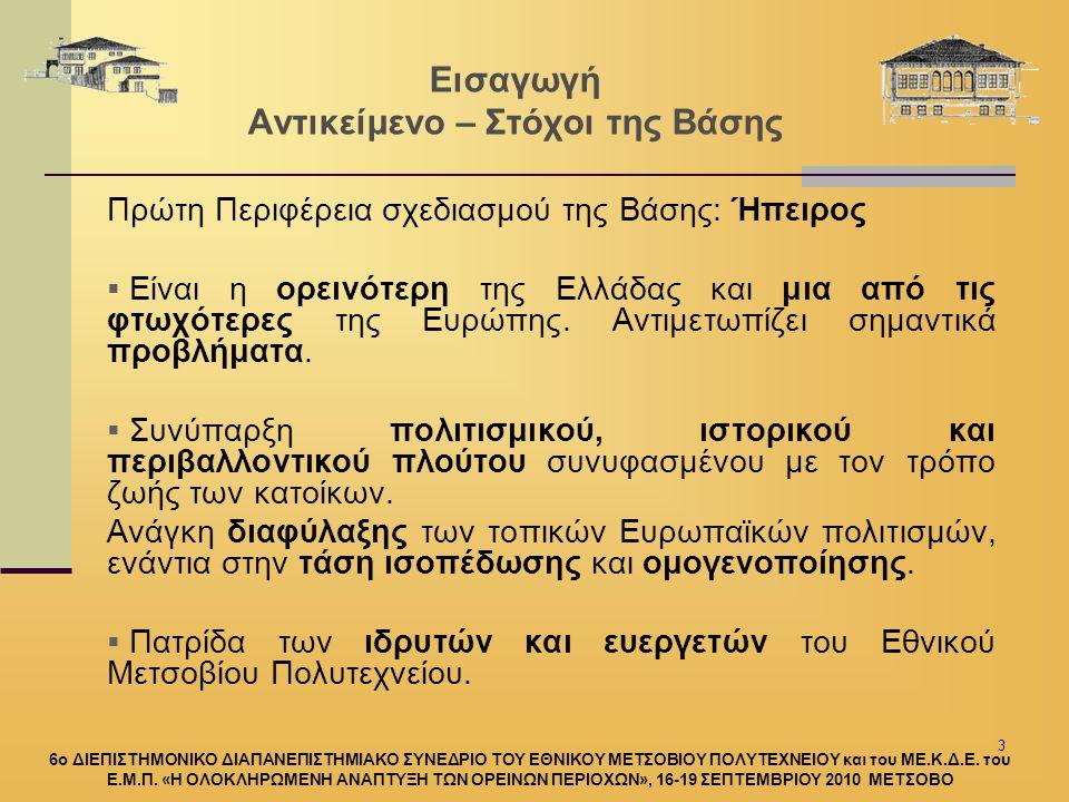 3 Εισαγωγή Αντικείμενο – Στόχοι της Βάσης Πρώτη Περιφέρεια σχεδιασμού της Βάσης: Ήπειρος  Είναι η ορεινότερη της Ελλάδας και μια από τις φτωχότερες της Ευρώπης.