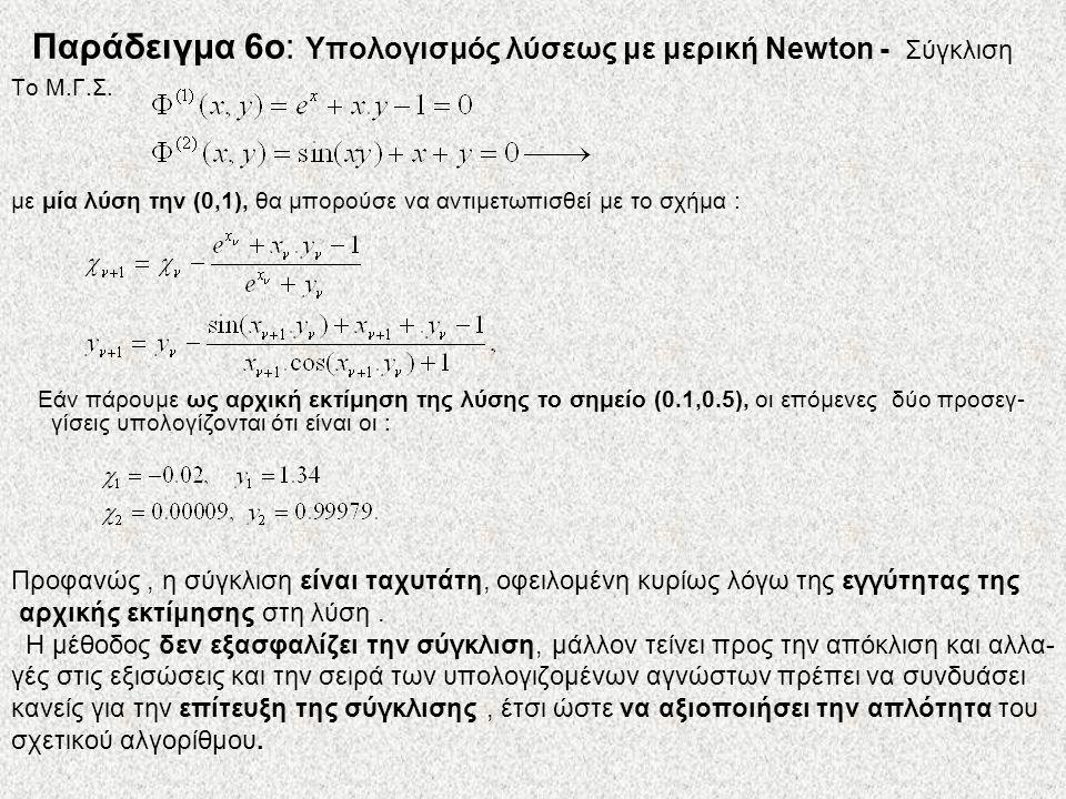 Το Μ.Γ.Σ. με μία λύση την (0,1), θα μπορούσε να αντιμετωπισθεί με το σχήμα : Εάν πάρουμε ως αρχική εκτίμηση της λύσης το σημείο (0.1,0.5), οι επόμενες