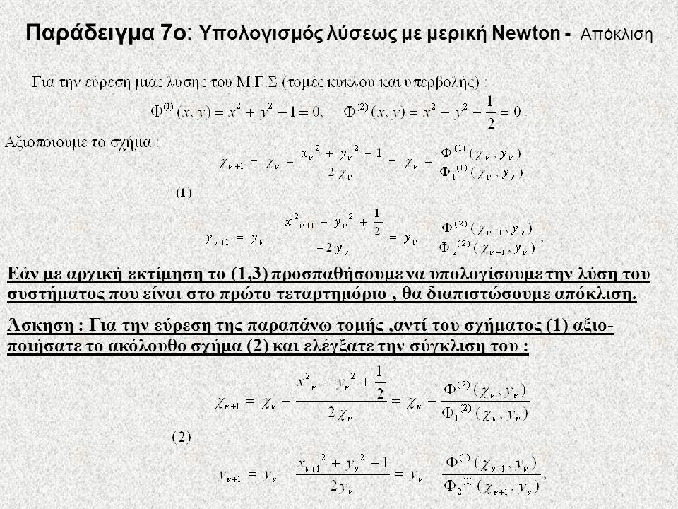 Παράδειγμα 7ο: Υπολογισμός λύσεως με μερική Newton - Απόκλιση Εάν με αρχική εκτίμηση το (1,3) προσπαθήσουμε να υπολογίσουμε την λύση του συστήματος πο